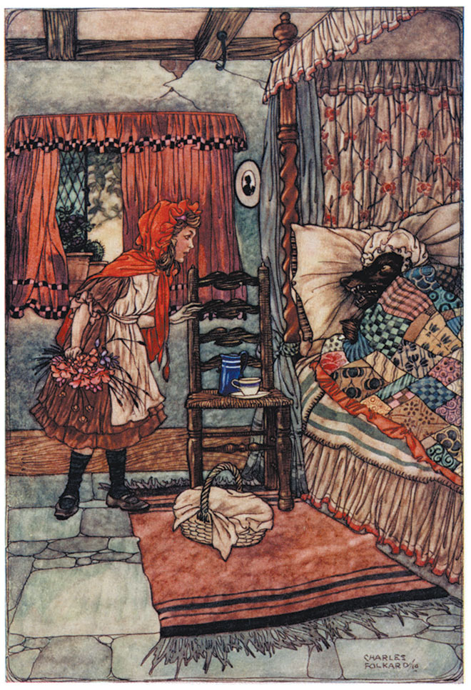 'Little Red Riding Hood' - Grimm's Fairy Tales, Charles Folkard, 1911.