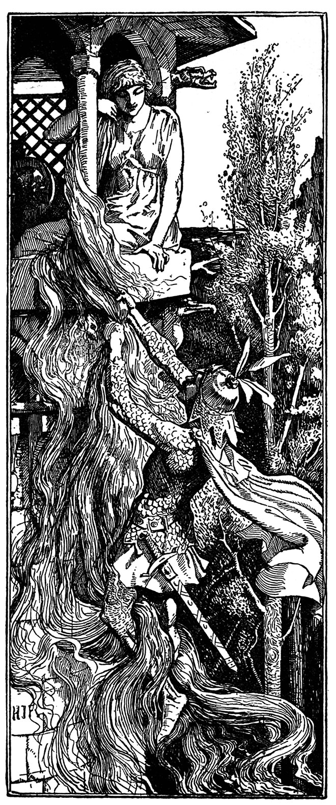 'Rapunzel' - The Red Fairy Book, H. J. Ford, 1890.