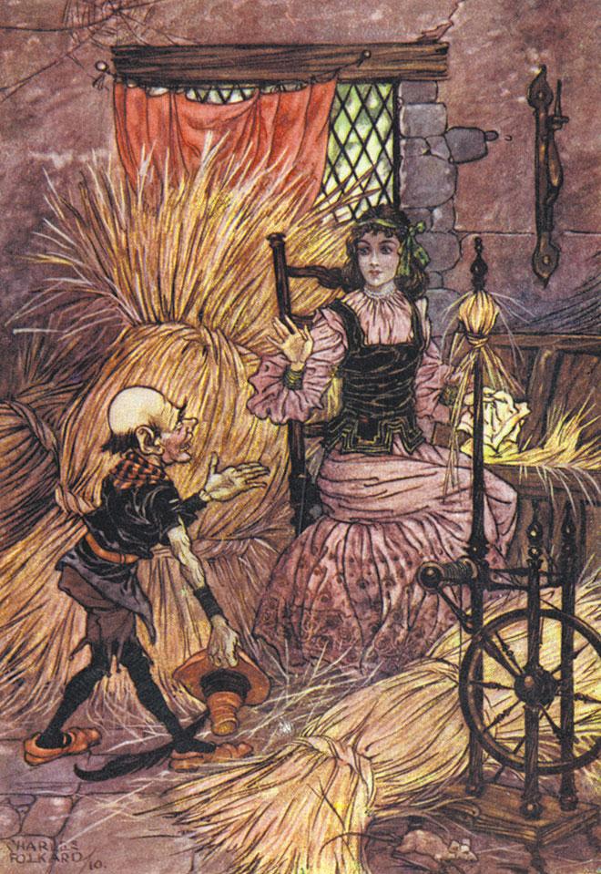 'Rumpelstiltskin' - Grimm's Fairy Tales, Charles Folkard, 1911.
