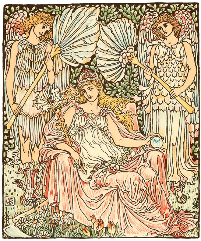 Queen Summer, or the Journey of the Lily and the Rose, Walter Crane, 1891. (Golden Age Illustrated Books)