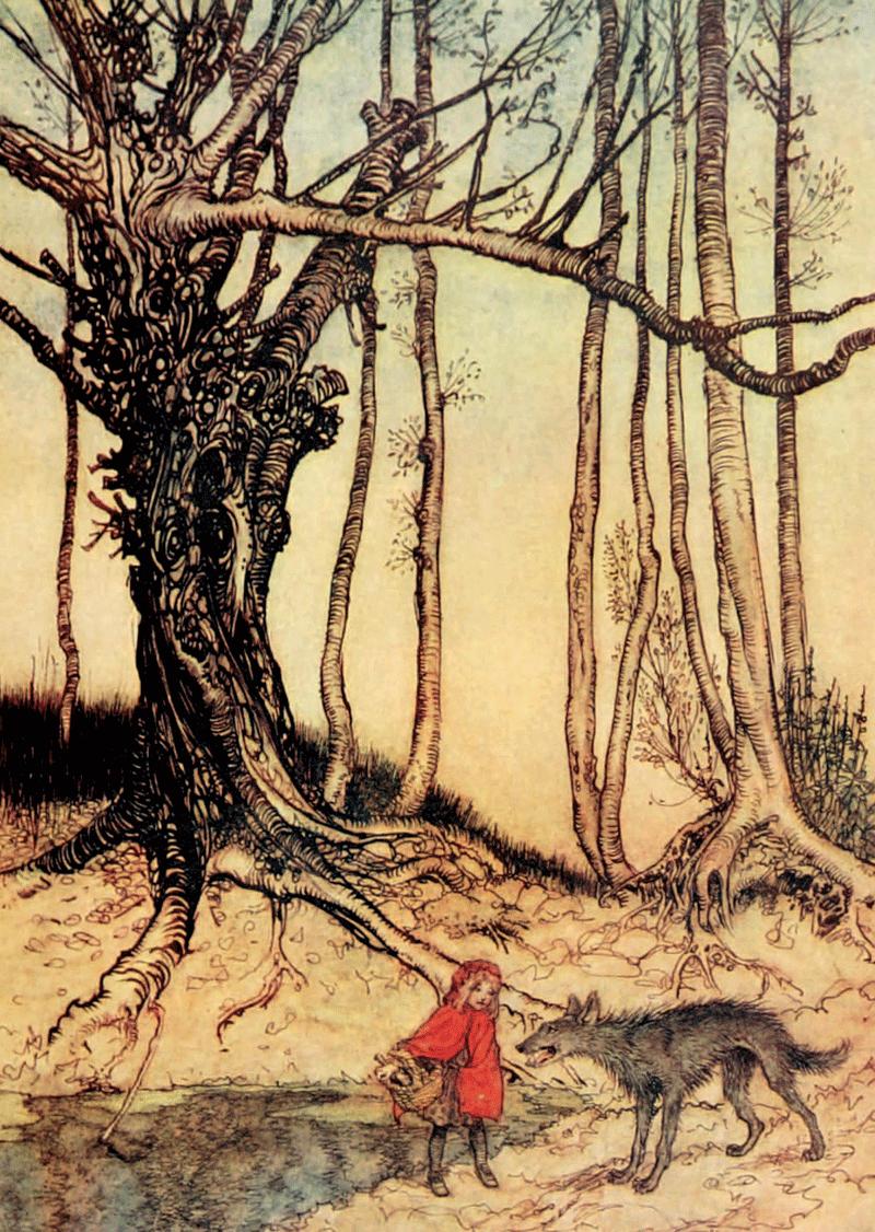 Tree, Arthur Rackham, Little Red Riding Hood