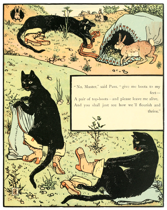 'Puss in Boots' The Cinderella Picture Book, 1875, Illustrated by Walter Crane.