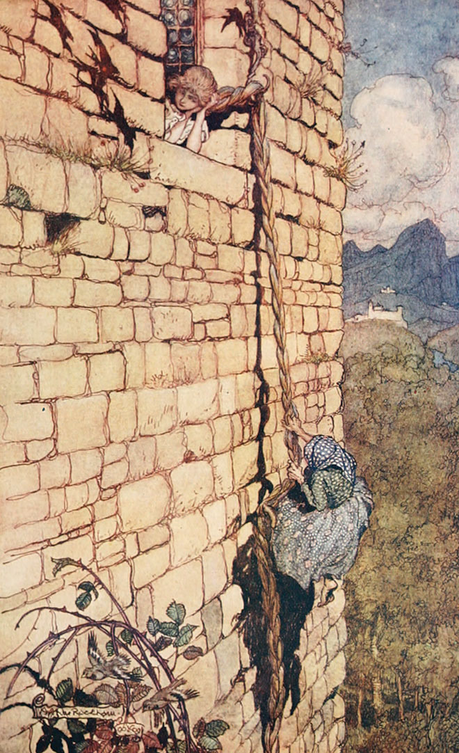 'Rapunzel' - The Fairy Tales of the Brothers Grimm, Arthur Rackham, 1909.