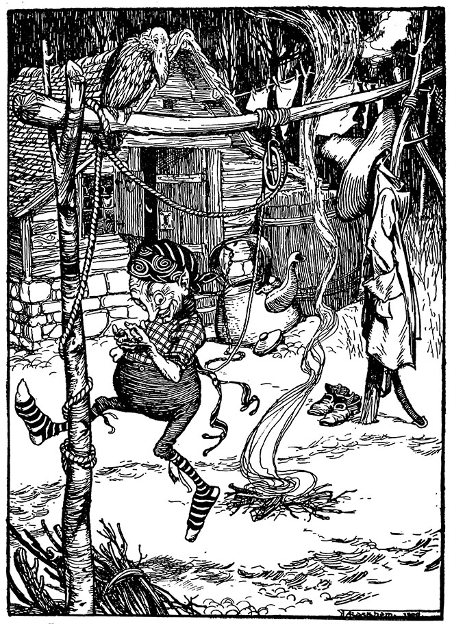 Rumpelstiltskin by Arthur Rackham from The Fairy Tales of the Brothers Grimm, 1909