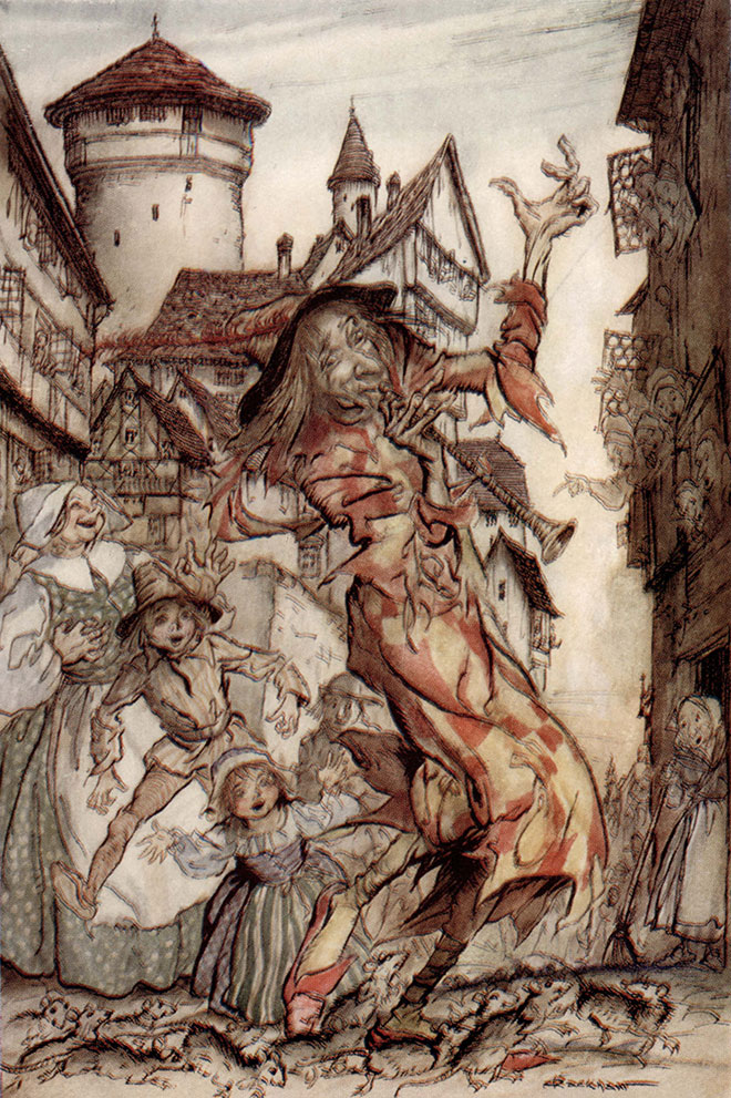 The Pied Piper of Hamelin, Arthur Rackham, 1934.