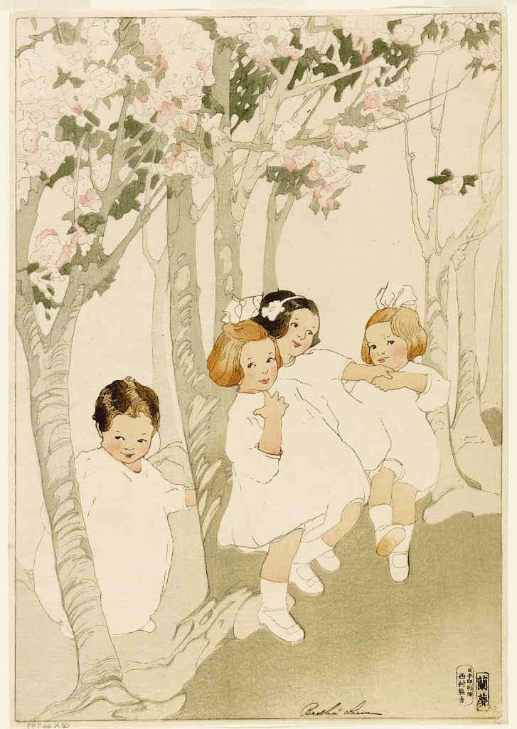 Children Dancing Beneath Cherry Trees by Bertha Lum