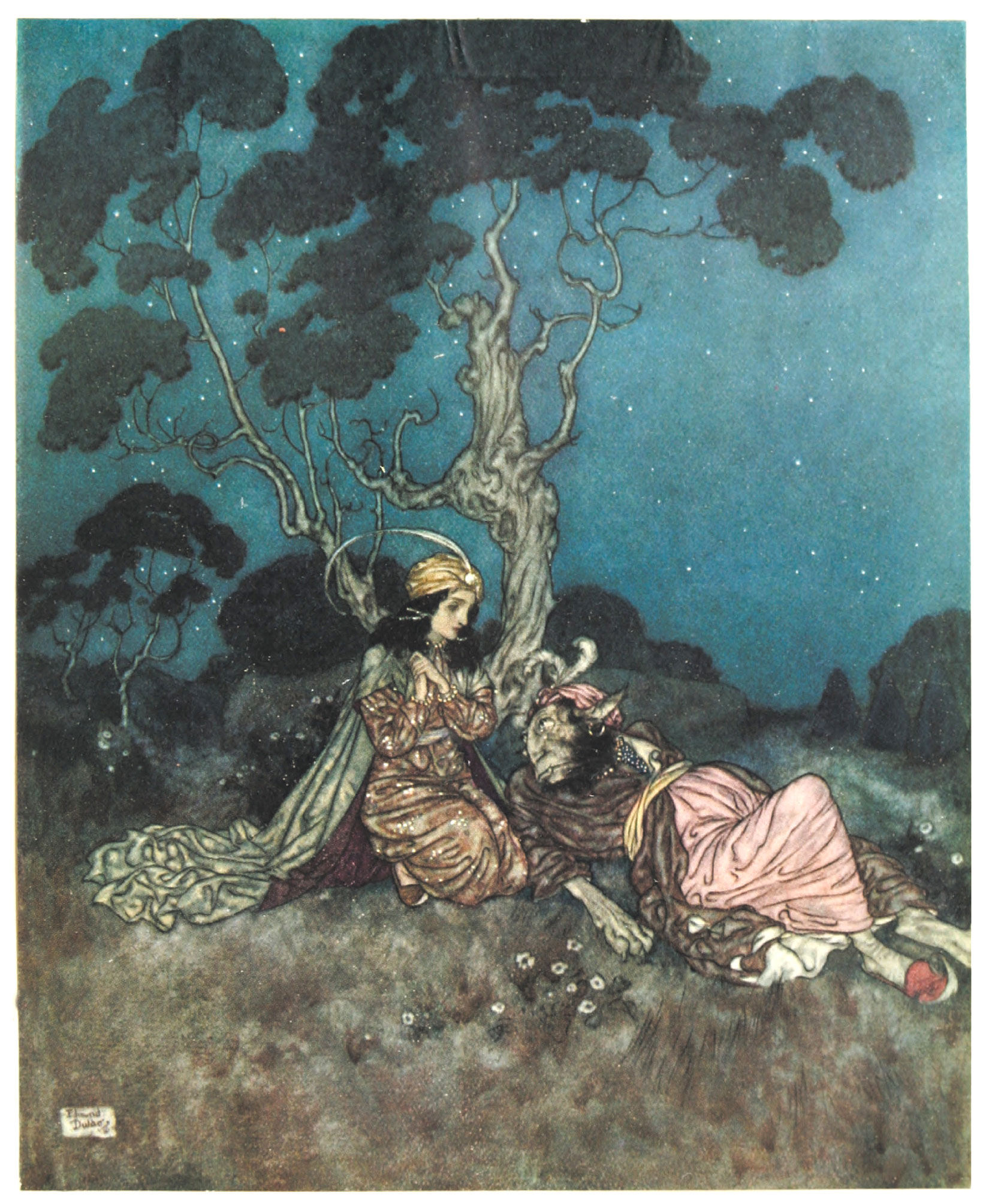 'Ah! What a fright you have given me! She murmured.' Illustration by Edmund Dulac