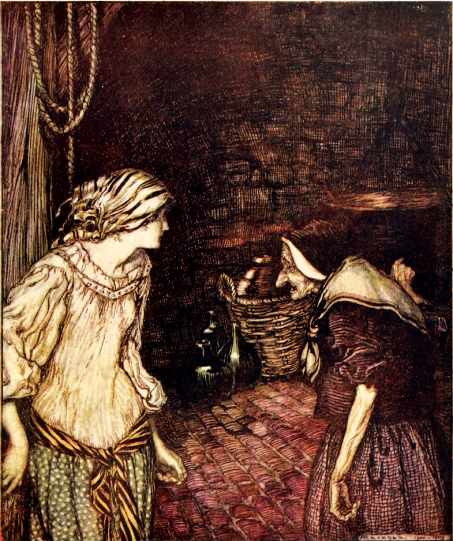 'At last she reached the cellar, and there she found an old, old woman with a shaking head.' Illustration by Arthur Rackham