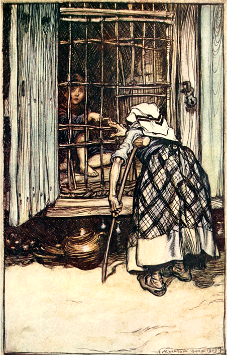 'Hansel put out a knuckle-bone, and the old woman, whose eyes were dim, could not see' By Arthur Rackham