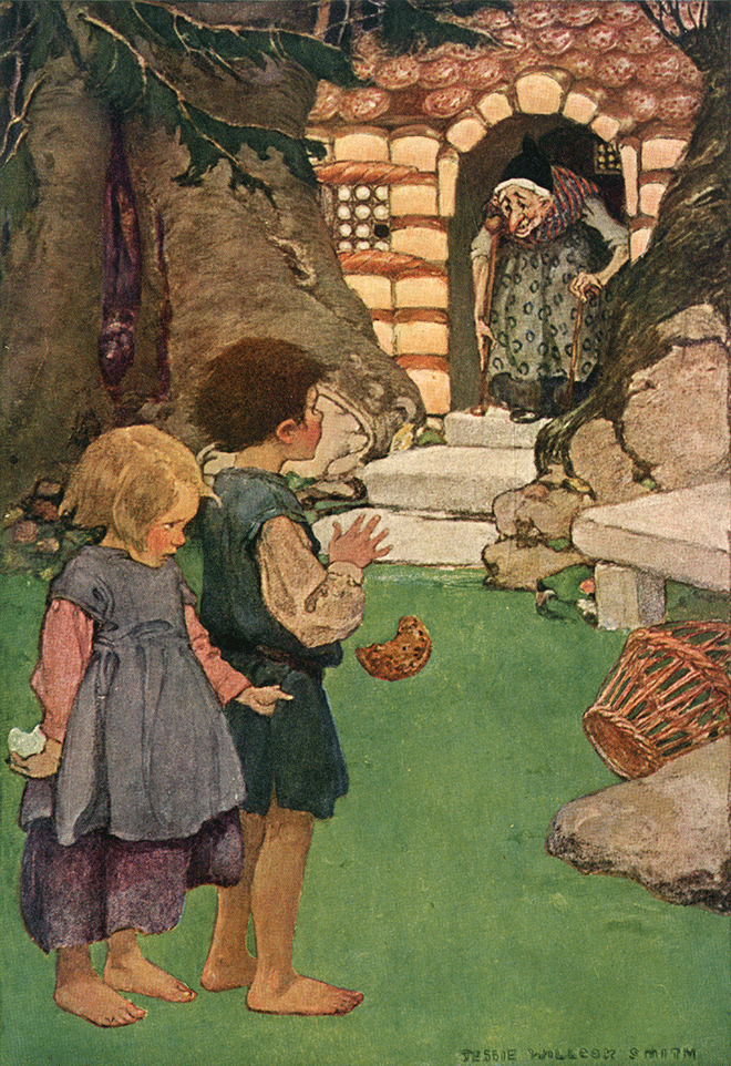 'Suddenly the door opened, and an ancient dame leaning on a staff hobbled out.' by Jessie Willcox Smith
