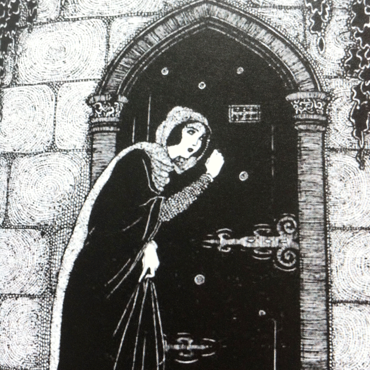 When she came to the gate in the Wall she knocked upon it three times. Illustrations by Jennie Harbour for Beauty and the Beast. From My book of Favourite Fairy Tales.