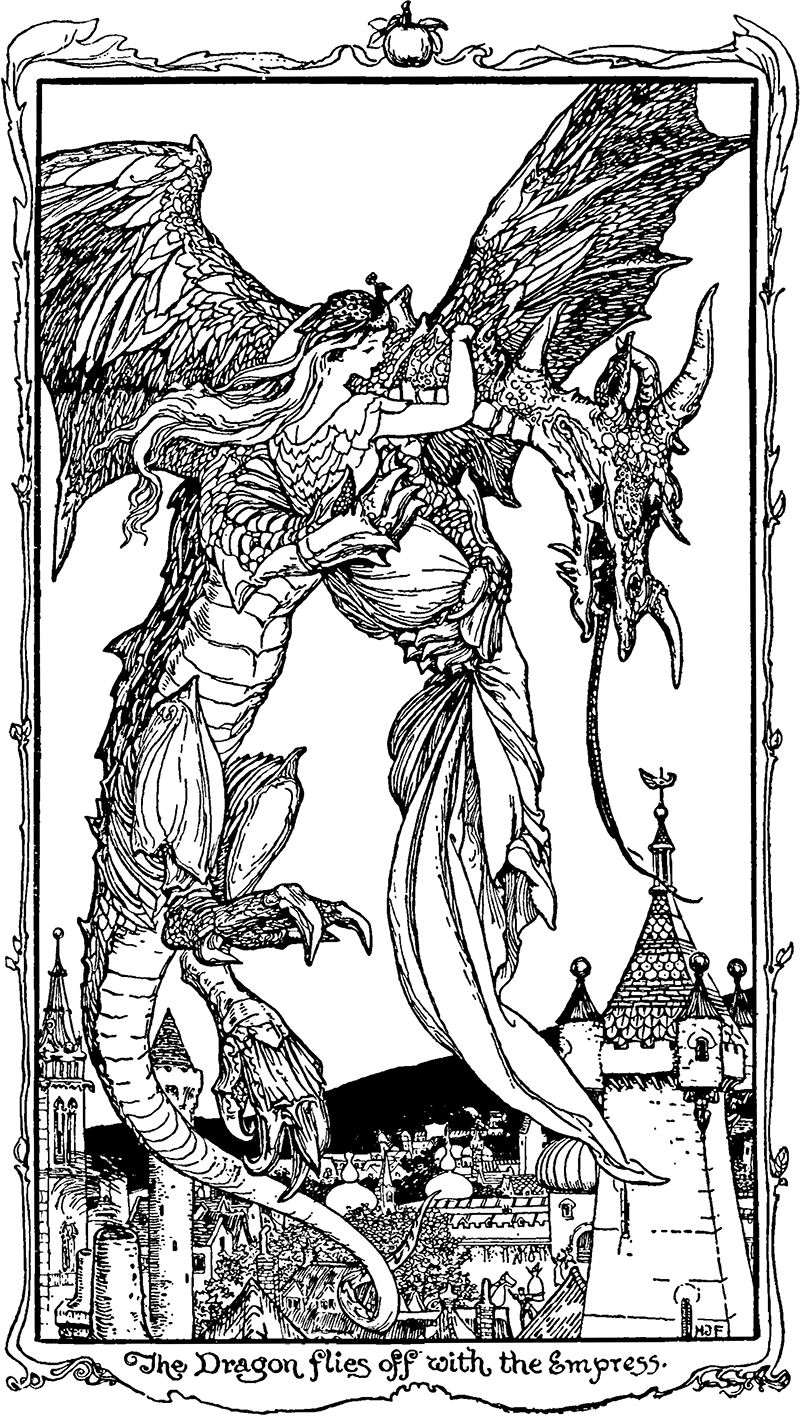 H. J. Ford Illustration from Nine Pea-Hens and Golden Apples in The Violet Fairy Book by Andrew Lang