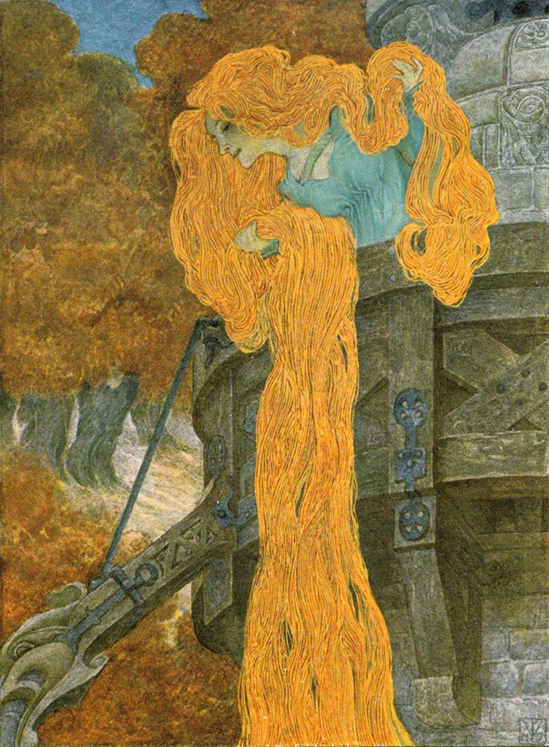 Rapunzel painting by Heinrich Lefler