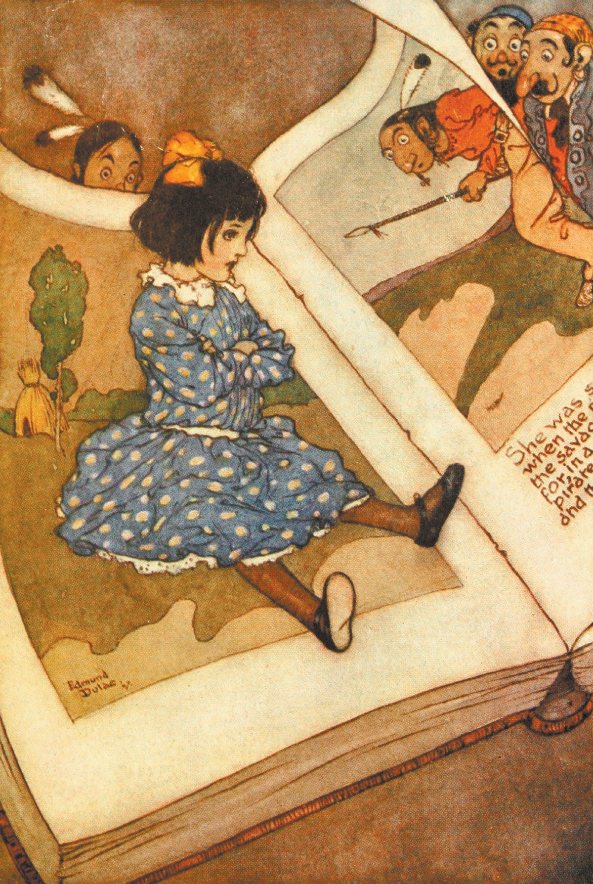 A Little Girl in a Book Illustration by Edmund Dulac