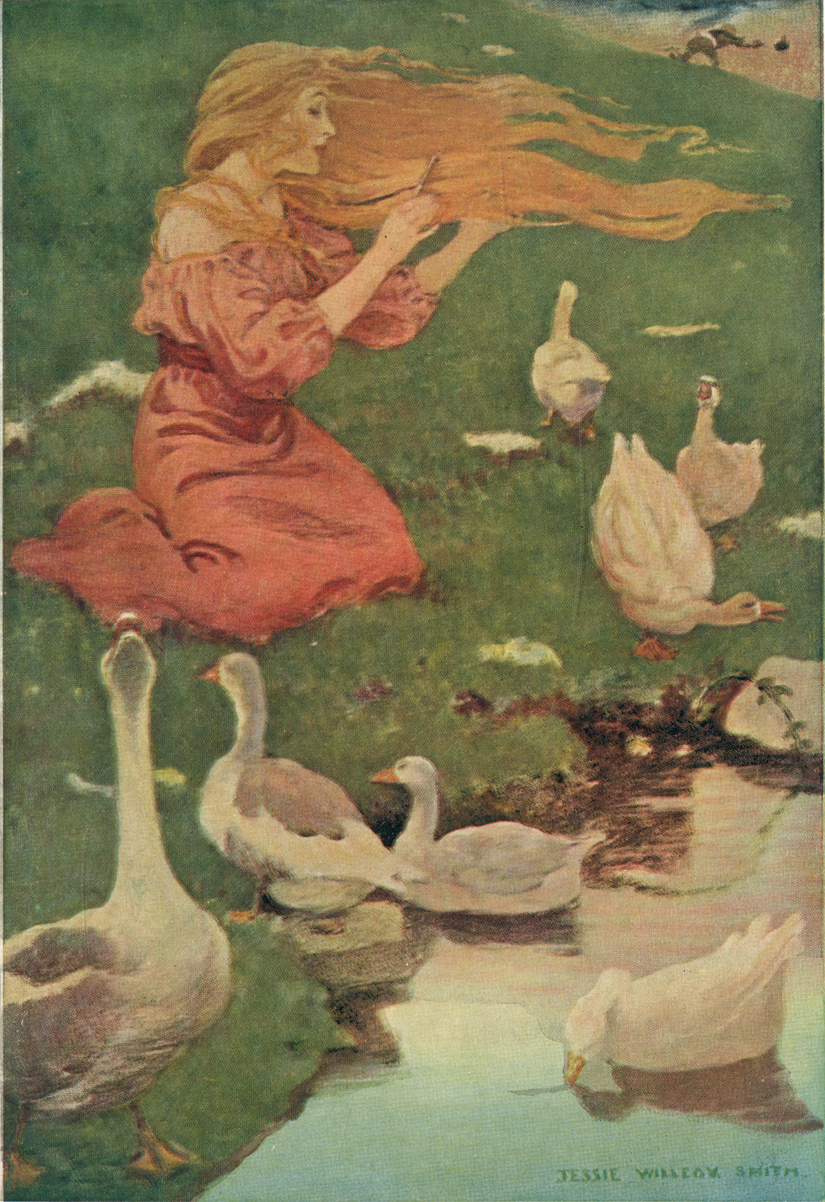 The Goose Girl Illustration by Jessie Willcox Smith