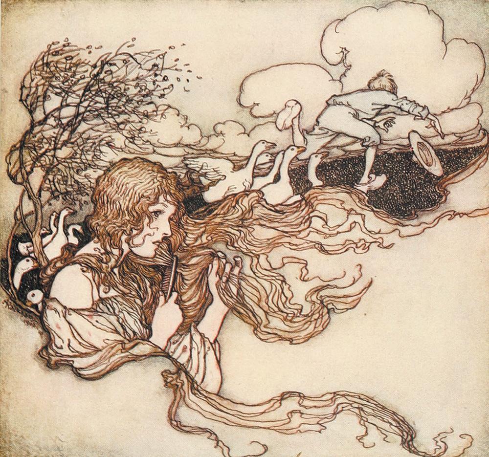 The Goose Girl Illustration by Arthur Rackham